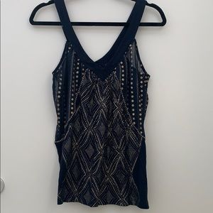 Silence and Noise navy V Neck Tank Top Size small